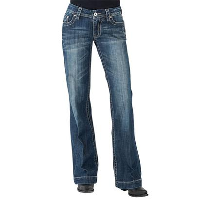 Stetson Womens Basic Back Pocket Medium Wash Trouser