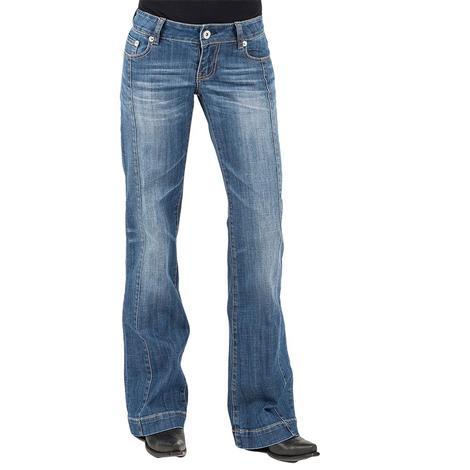 Stetson Womens Front Pleat Medium Wash Trouser Jeans