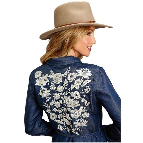 Roper Denim Snap Dress with White Floral Embroidered Back