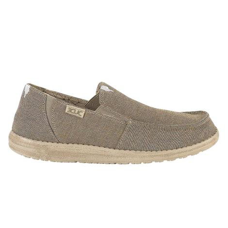 Hey Dude Chan Stretch Fleece Linen Steppa Men's Slip On Shoes