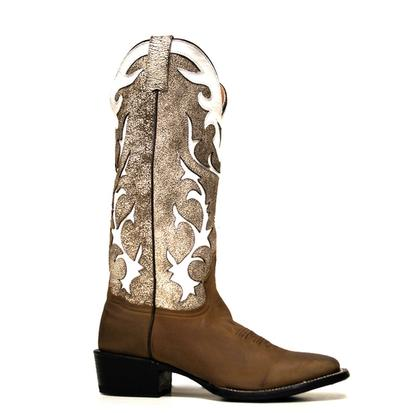Stetson Mens Oiled Brown & Antique White Buckaroo Cowboy Boots