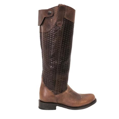 Stetson Womens Tall Chelsea Basket Weave Chocolate Riding Boot