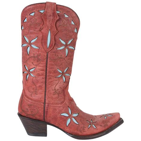 Stetson Womens Red Leather & Blue Floral Underlay Cowgirl Boots