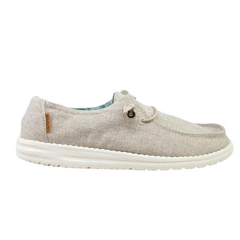 Hey Dude Wendy Linen Chambray Beige Slip On Women's Shoes