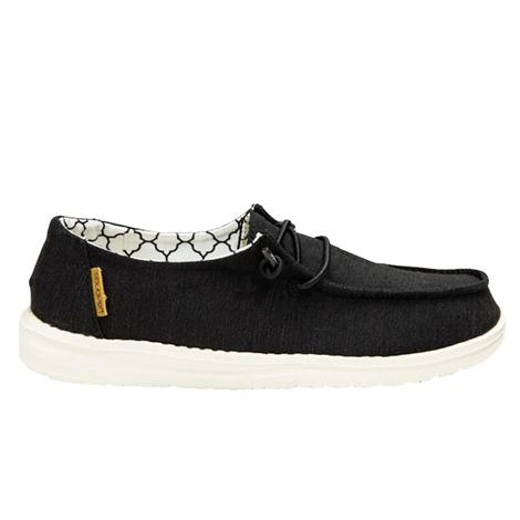 Hey Dude Wendy Youth Linen Black Shoe