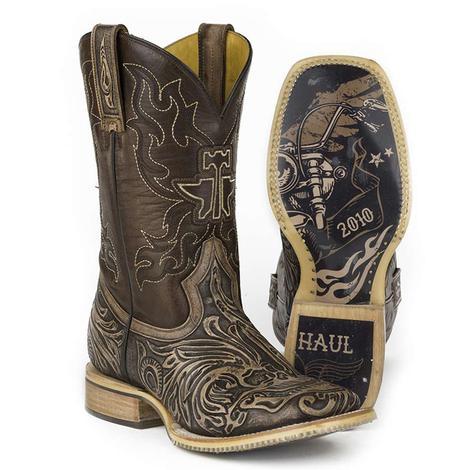 Tin Haul Mens Tooled Skull Square Toe Boots