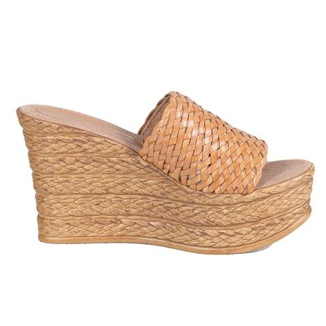 SBICCA Womens Kersy Tan Basket Weave Wedge Slip-on