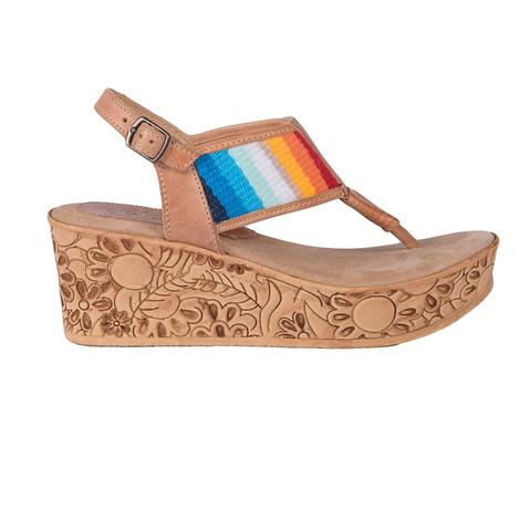 SBICCA Womens Minka Rainbow Engraved Wedge Sandal
