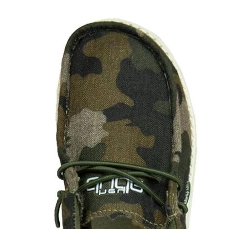 Hey Dude Wally Youth Linen Camo Shoes