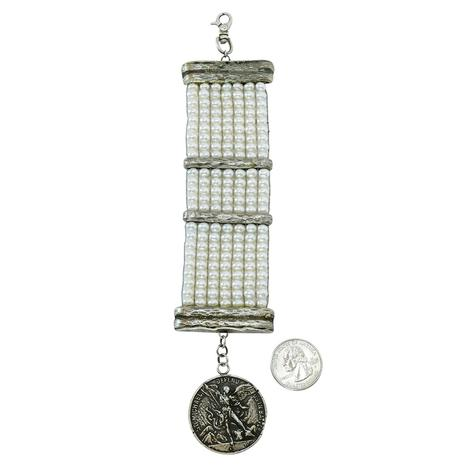 Love Tokens Loomed Pearl Bracelet with St. Michael Medallion