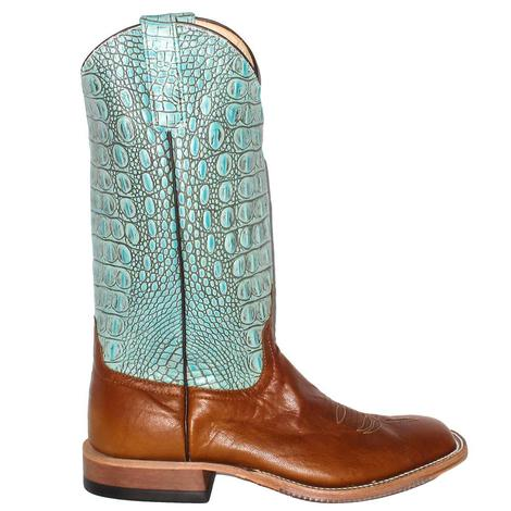 Anderson Bean Mens Goat Tag Turquoise Croco Top Boots