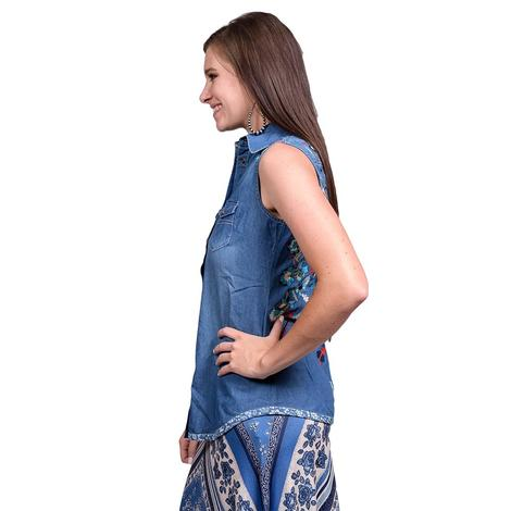 Tasha Polizzi Independence Embroidered Denim Button Down Tank