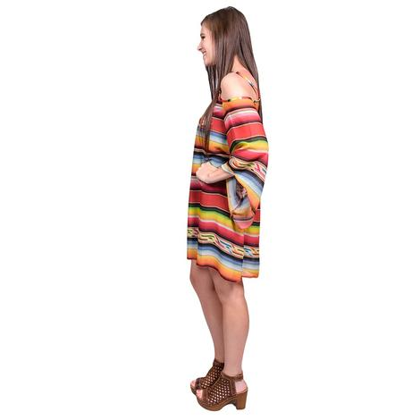 Tasha Polizzi Womens Gracie Salsa Serape Off Shoulder Dress