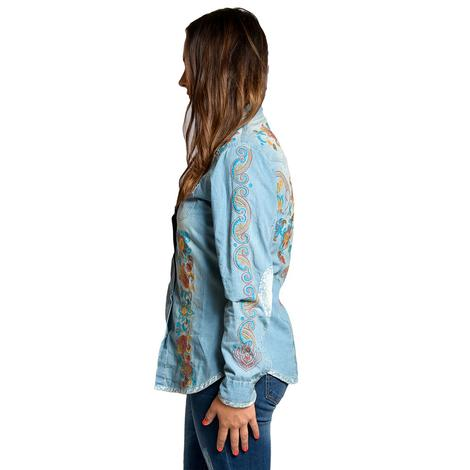 Tasha Polizzi Womens Billie Embroidered Denim Long Sleeve Shirt