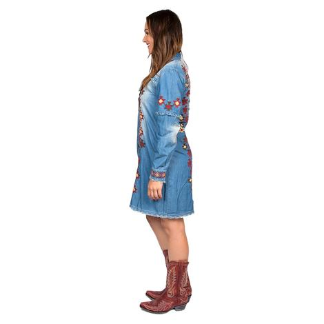 Tasha Polizzi Luciella Denim Embroidered Long Sleeve Dress