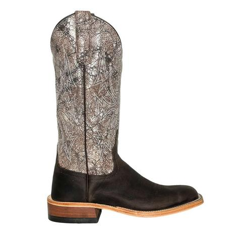 Anderson Bean Black Bison with Brown Acid Wash Women's Boots