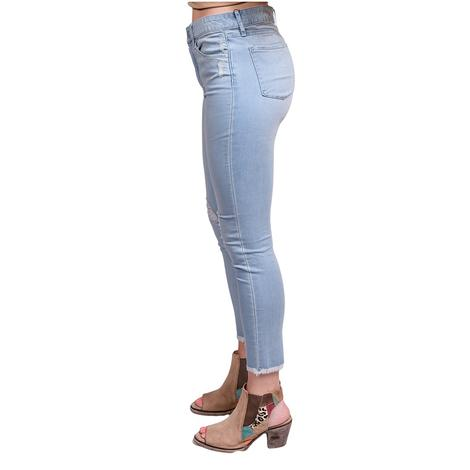 Articles Of Society Womens Heather Cut Off Hem Crop Skinny Jeans
