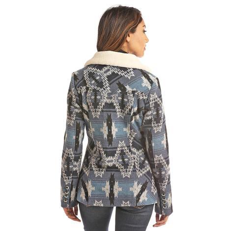 Powder River Blue Aztec Print Ladies Button Up Jacket