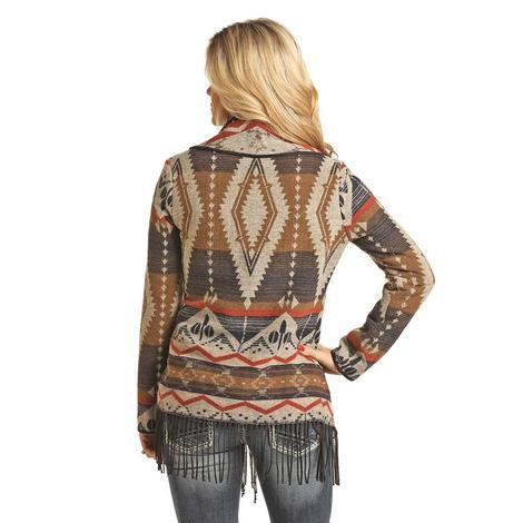 STT Aztec Fringed Open Cardigan Women's Jacket
