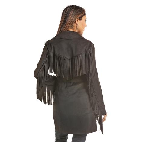 Powder River Black Faux Suede Fringed Women's Jacket