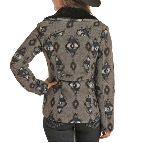 Powder River Blue Grey Aztec Print Women's Wool Coat