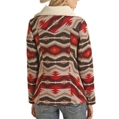 Powder River Brown and Red Aztec Print Wool Women's Coat