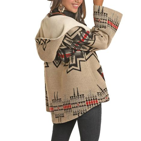 Powder River Natural & Black Aztec Print Wool Cape Women's Coat