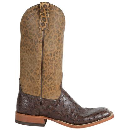 Anderson Bean Womens Nicotine Full Quill Ostrich with Leopard Top Boots