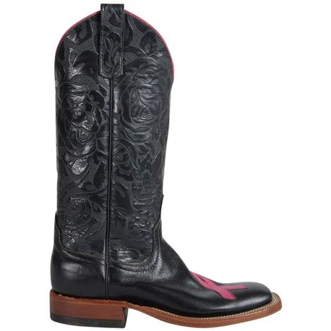 Anderson Bean Womens  Black Hot Pink Breast Cancer Awareness Boots