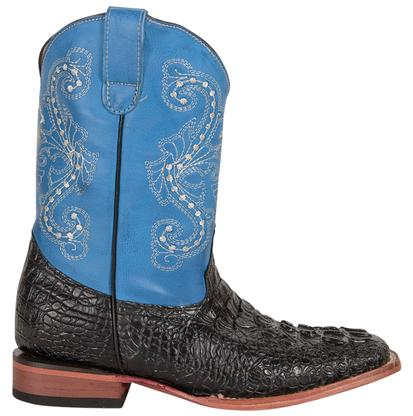 Ferrini Black Crocodile Blue Kid Boots