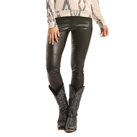 Panhandle Slim Womens Black Leather Leggings