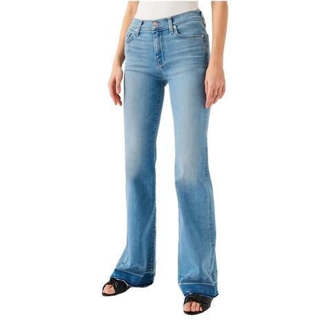 7 For All Mankind Dojo Alta Blue Released Hem Women's Trouser Jeans