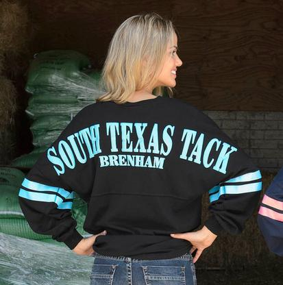 South Texas Tack Womens Jersey Tee - Black Turquoise