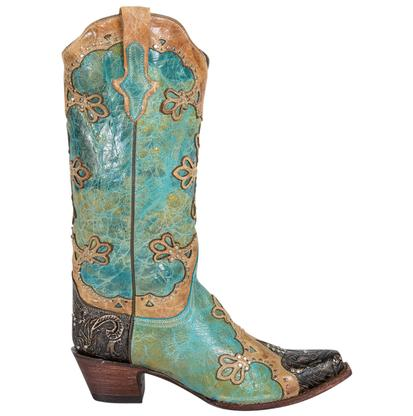 Ferrini Womens Embossed Diva Turquoise and Golden Boots