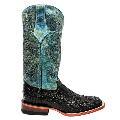 Ferrini Womens Black Crocodile with Teal Accent Boots