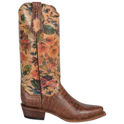 Ferrini Womens Vintage Floral Design Gator Print Boots
