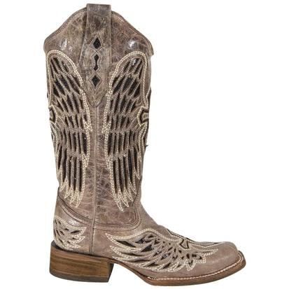Corral Women's Square Toe Black Wings & Cross Sequin Boots