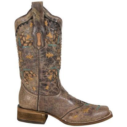 4030dc768d0 ... Corral Womens Cango Tobacco Laser Woven Square Toe Boot