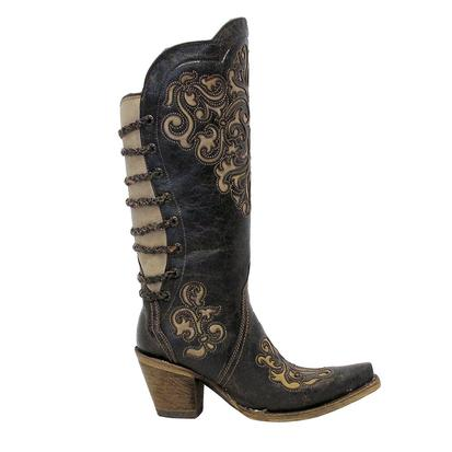 Corral Womens Black Bone Snip Toe Fashion Boots