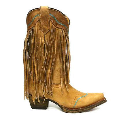 Corral Girls Tan & Turquoise Fringe Cowboy Boots