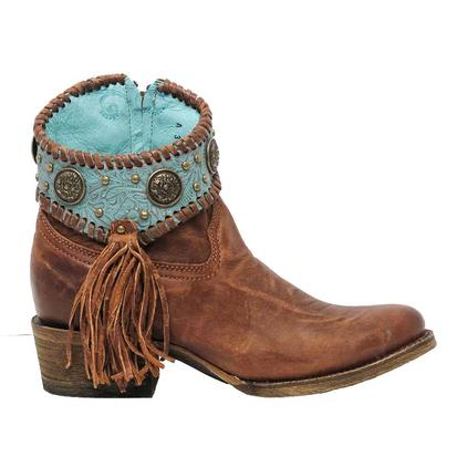 Corral Womens Cognac Turquoise Concho Shortie Boots