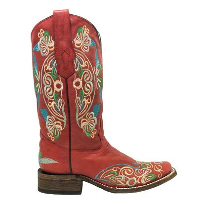 Corral Womens Lady In Red Floral Embroidered Boots