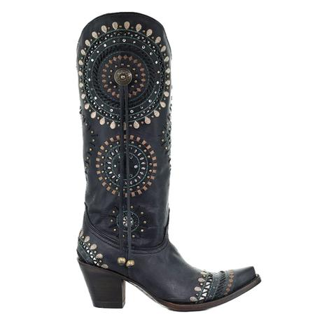 Corral Black Embroidered Silver Stud Women's Boots