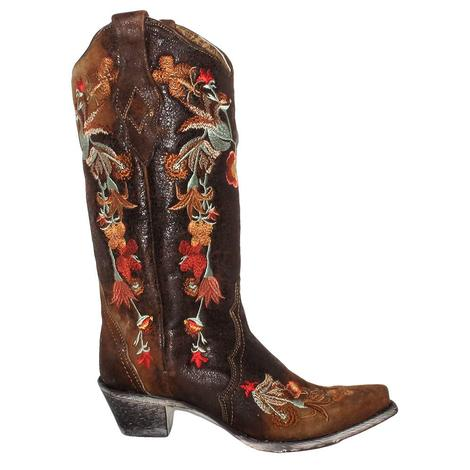 Corral Womens Chocolate Lamb Floral Embroidered Western Boots