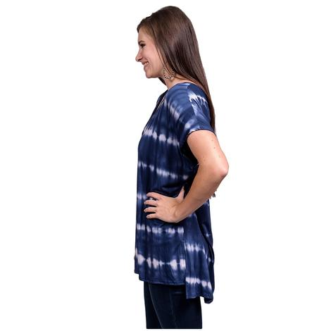 Womens Navy and White Short Sleeve Tye Dye Top