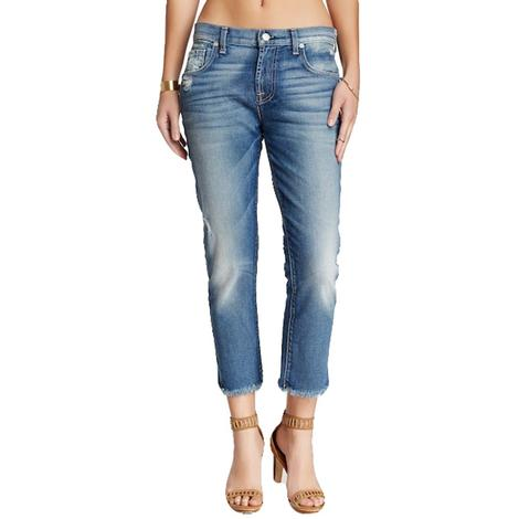 7 For All Mankind Womens Relaxed Skinny The Girlfriend Medium Wash Jean