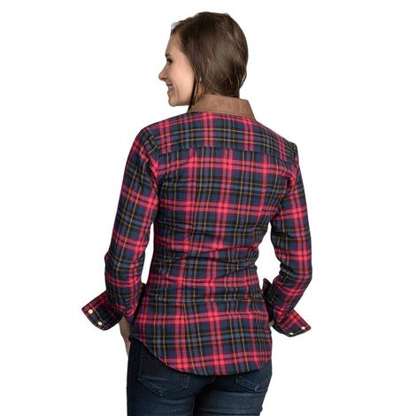 Rock & Roll Cowgirl Womens Red Plaid Suede Yoke Button Down Shirt