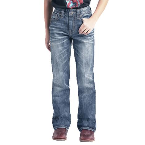 Rock and Roll Cowboy Double Barrel Straight Leg Medium Wash Boy's Jeans