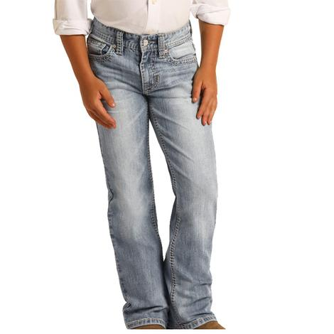 Rock and Roll Cowboy Light Wash Boy's Bootcut Jeans