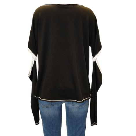 Black and White Elbow Cut-Out Long Sleeve Women's Top